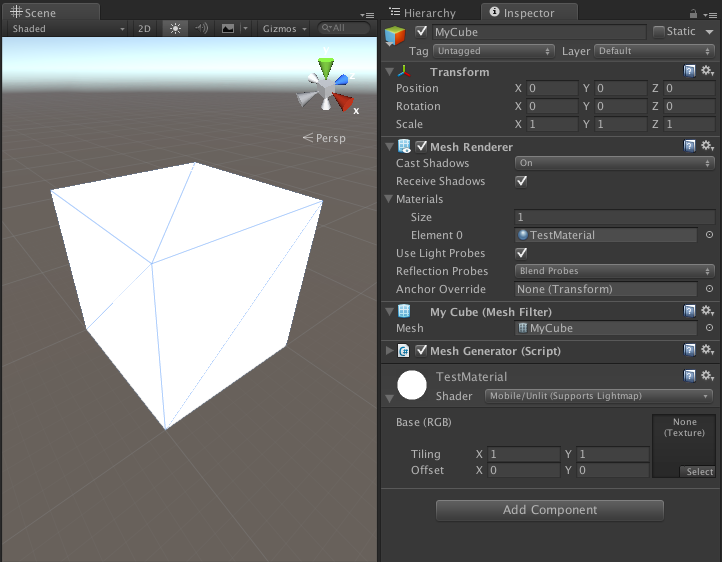 Creating a Cube Mesh In Unity3D